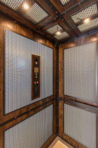 rustic elevator cab